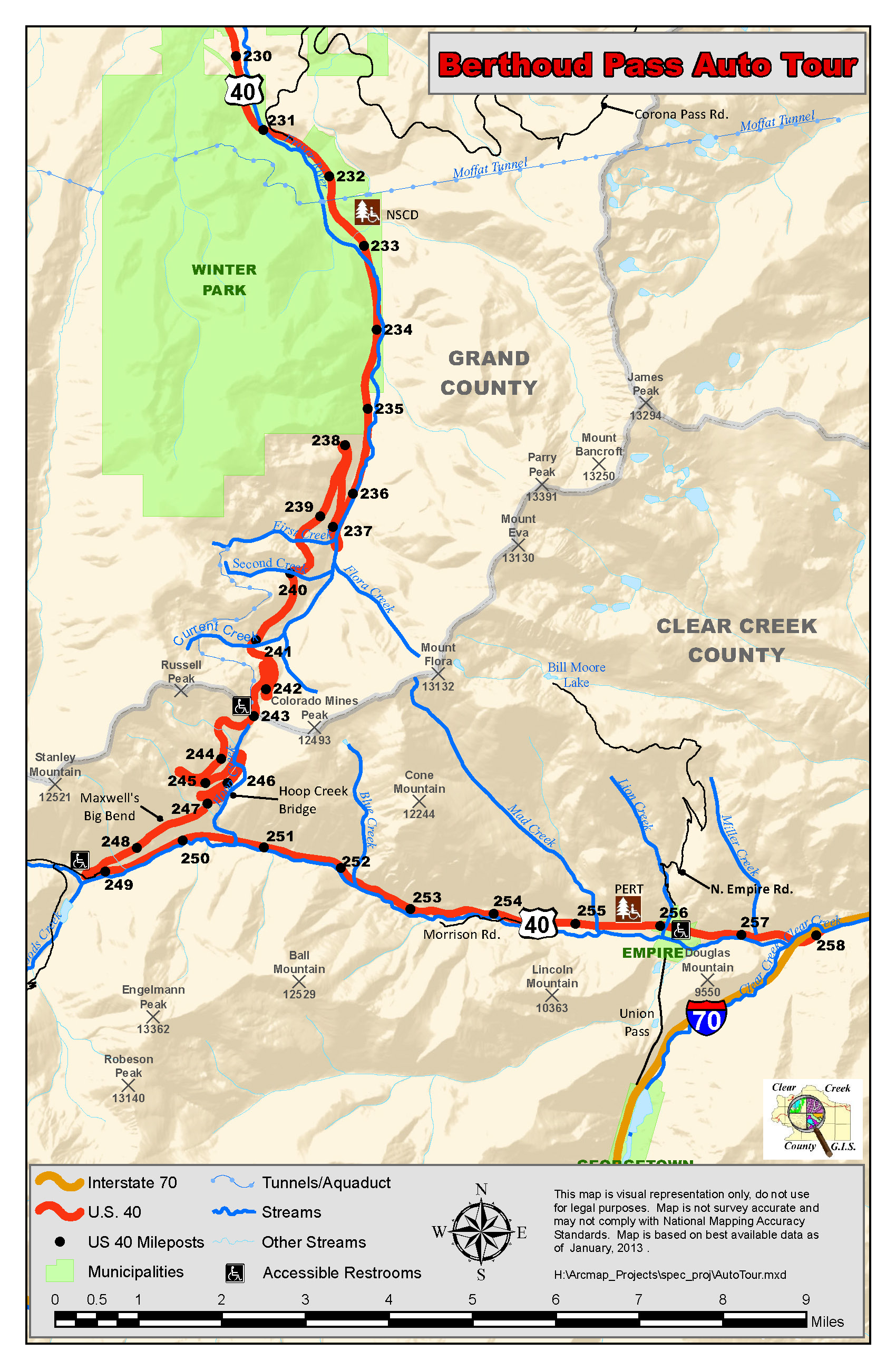 Clear Creek County Co Official Website Berthoud Pass Auto Tour - Us-highway-40-map